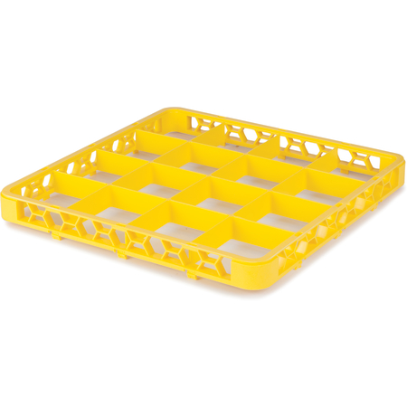 """RE16C04 - OptiClean™ 16 Compartment Divided Glass Rack Extender 1.78"""" - Yellow"""