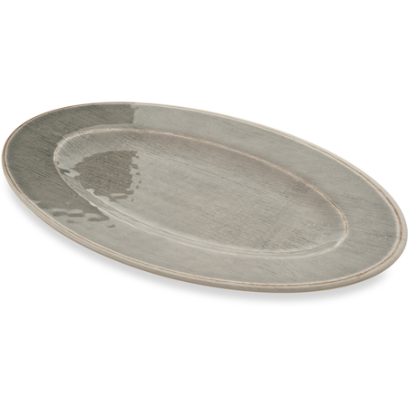"""6402018 - Grove Melamine Oval Plate 12"""" x 8"""" - Smoke"""