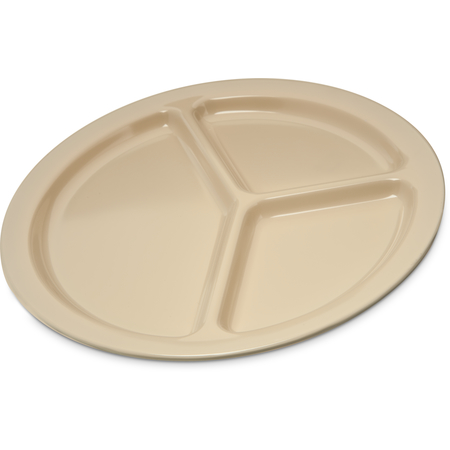 "KL10225 - Kingline™ Melamine 3-Compartment Plate 10"" - Tan"