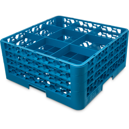 "RG9-314 - OptiClean™ 9 Compartment Glass Rack with 3 Extenders 8.72"" - Carlisle Blue"