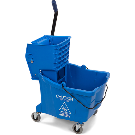3690414 - Commercial Mop Bucket with Side-Press Wringer 35 Quart - Blue