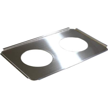 """607712 - Full-Size Stainless Steel Steam Table Hotel Pan Round Opening Adapter Plate 6.5"""" Openings"""