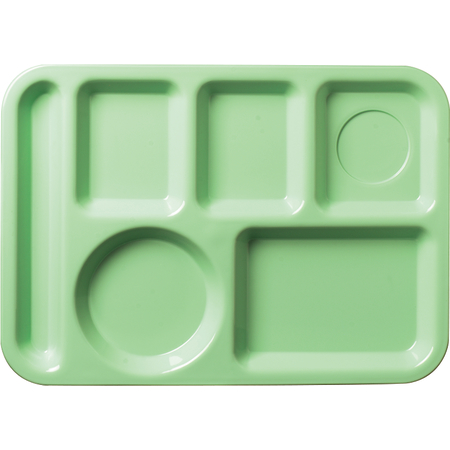 """61409 - Left-Hand 6-Compartment ABS Tray 10"""" x 14"""" - Green"""