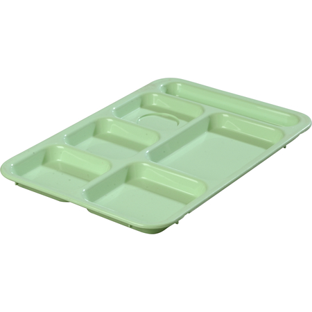 """614R09 - Right-Hand 6-Compartment ABS Tray 10"""" x 14"""" - Green"""