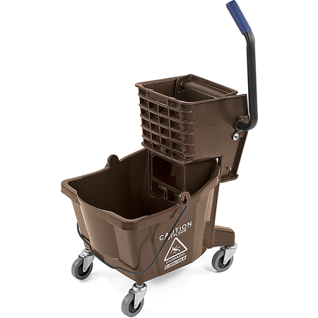 3690869 - Commercial Mop Bucket with Side-Press Wringer 26 Quart - Brown