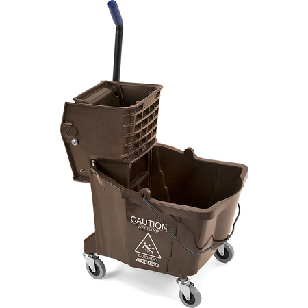 3690469 - Commercial Mop Bucket with Side-Press Wringer 35 Quart - Brown
