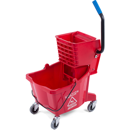 3690805 - Commercial Mop Bucket with Side-Press Wringer 26 Quart - Red