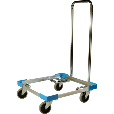 """C2222A14 - E-Z Glide™ Open Aluminum Dolly With  Handle 20.63"""" x 20.63"""" x 36.5"""" - Carlisle Blue"""