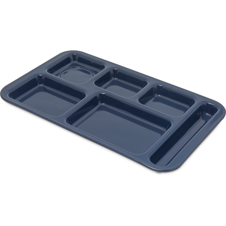 "4398250 - Right Hand 6-Compartment Melamine Tray, 15"" x 9"" - Dark Blue"