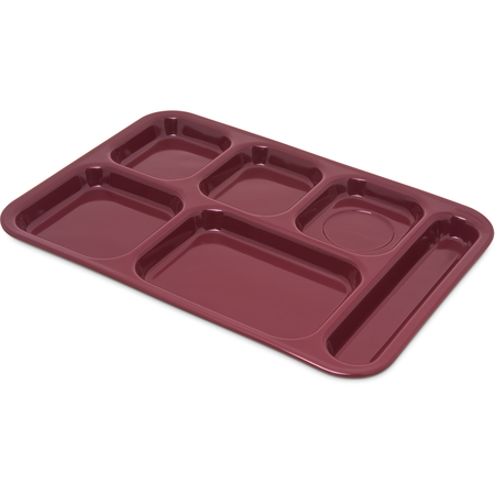 "4398885 - Right Hand 6-Compartment Melamine Tray 14.5"" x 10"" - Dark Cranberry"