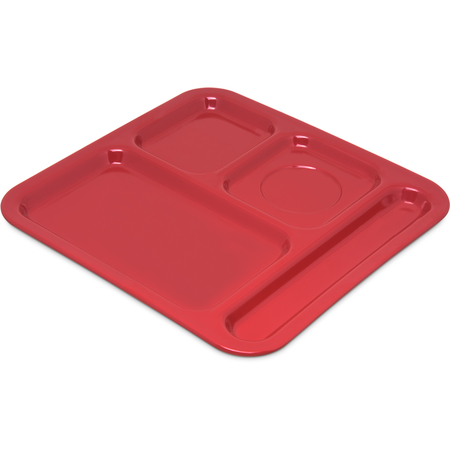 "4398405 - Right Hand 4-Compartment Melamine Tray 10"" x 9.75"" - Red"