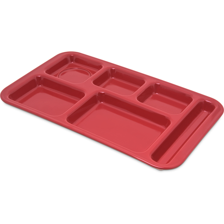 "4398205 - Right Hand 6-Compartment Melamine Tray 15"" x 9"" - Red"
