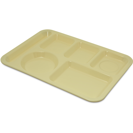 "4398004 - Left-Hand Heavy Weight 6-Compartment Melamine Tray 10"" x 14"" - Yellow"