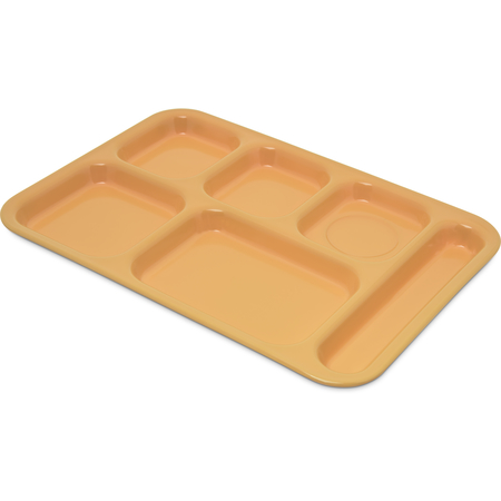 "4398834 - Right Hand 6-Compartment Melamine Tray 14.5"" x 10"" - Bright Yellow"