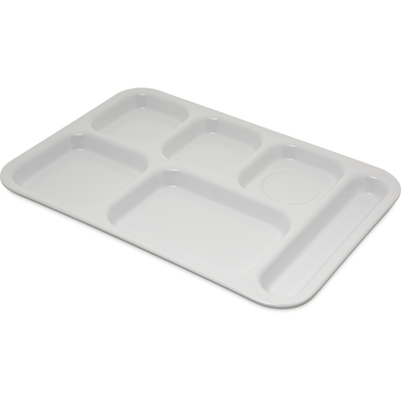 "4398802 - Right Hand 6-Compartment Melamine Tray 14.5"" x 10"" - White"