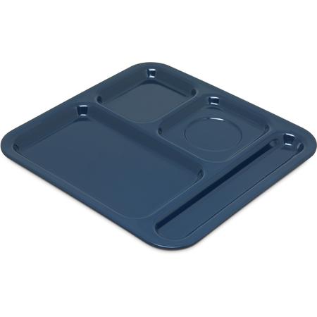 "4398450 - Right Hand 4-Compartment Melamine Tray 10"" x 9.75"" - Dark Blue"
