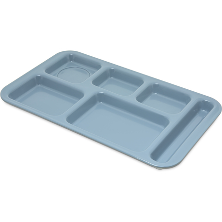 "4398259 - Right Hand 6-Compartment Melamine Tray 15"" x 9"" - Slate Blue"