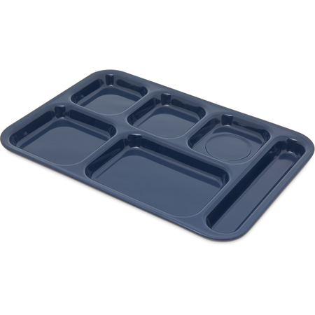 "4398850 - Right Hand 6-Compartment Melamine Tray 14.5"" x 10"" - Dark Blue"