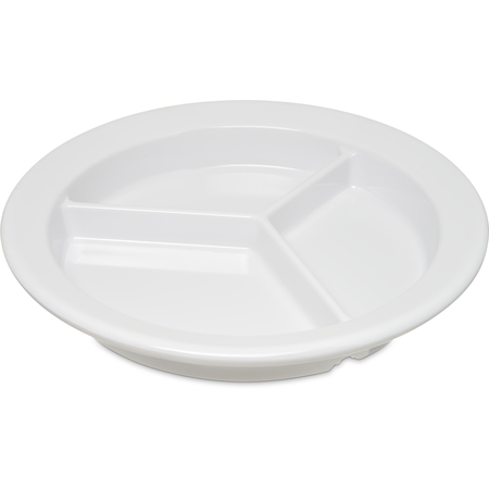 "4351602 - Dallas Ware® Melamine 3-Compartment Deep Plate 9"" - White"