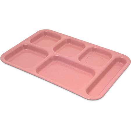"4398900 - Right-Hand Heavy Weight 6-Compartment Melamine Tray 10"" x 14"" - Variegated - Rose Granite"