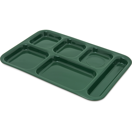 """4398808 - Right Hand 6-Compartment Melamine Tray 14.5"""" x 10"""" - Forest Green"""