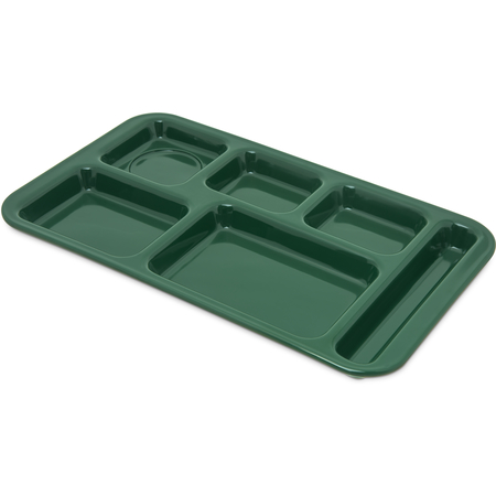"4398208 - Right Hand 6-Compartment Melamine Tray 15"" x 9"" - Forest Green"