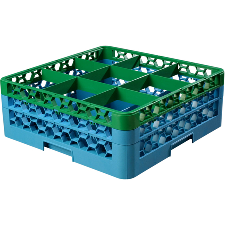 """RG9-2C413 - OptiClean™ 9 Compartment Glass Rack with 2 Extenders 7.12"""" - Green-Carlisle Blue"""