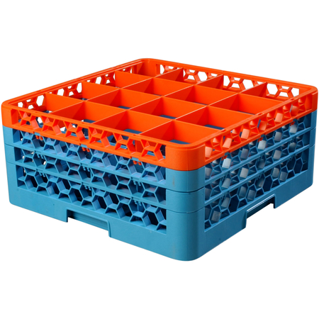 """RG16-3C412 - OptiClean™ 16 Compartment Glass Rack with 3 Extenders 8.72"""" - Orange-Carlisle Blue"""