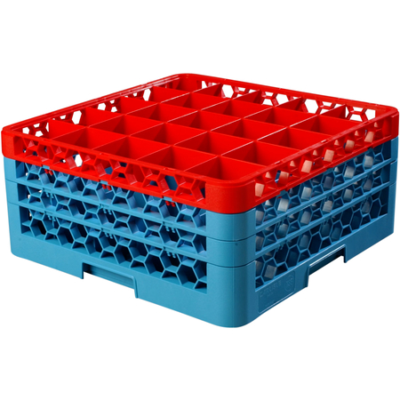 """RG25-3C410 - OptiClean™ 25 Compartment Glass Rack with 3 Extenders 8.72"""" - Red-Carlisle Blue"""
