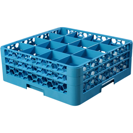 """RG16-214 - OptiClean™ 16 Compartment Glass Rack with 2 Extenders 7.12"""" - Carlisle Blue"""