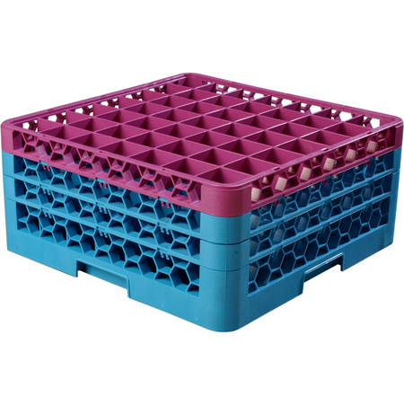 """RG49-3C414 - OptiClean™ 49 Compartment Glass Rack with 3 Extenders 8.72"""" - Lavender-Carlisle Blue"""