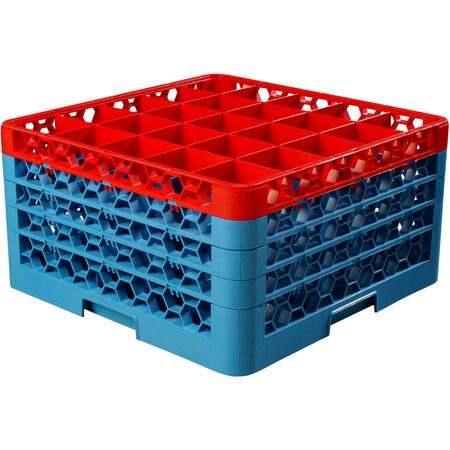 "RG25-4C410 - OptiClean™ 25 Compartment Glass Rack with 4 Extenders 10.3"" - Red-Carlisle Blue"