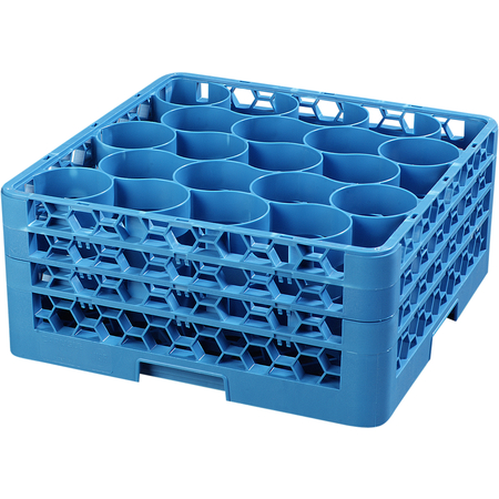 RW20-214 - OptiClean™ NeWave™ Glass Rack with Three Extenders 20 Compartment - Carlisle Blue
