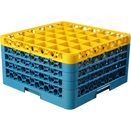 """RG36-4C411 - OptiClean™ 36 Compartment Glass Rack with 4 Extenders 10.3"""" - Yellow-Carlisle Blue"""