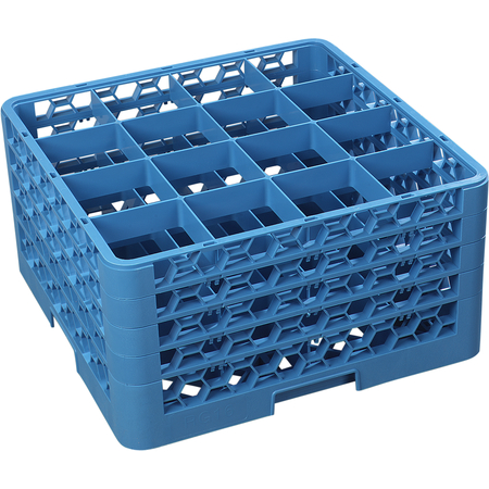 """RG16-414 - OptiClean™ 16 Compartment Glass Rack with 4 Extenders 10.3"""" - Carlisle Blue"""