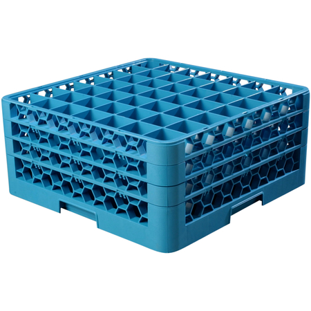 """RG49-314 - OptiClean™ 49 Compartment Glass Rack with 3 Extenders 8.72"""" - Carlisle Blue"""