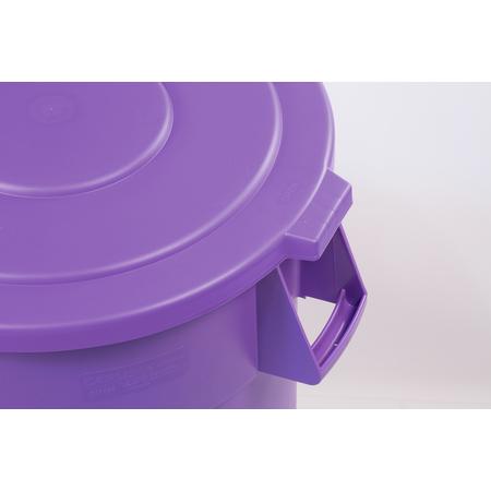 34105689 - Bronco™ Round Waste Bin Trash Container Lid 55 Gallon - Purple