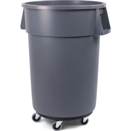 34114423 - Bronco™ Round Waste Bin Trash Container & Dolly 44 Gallon - Gray