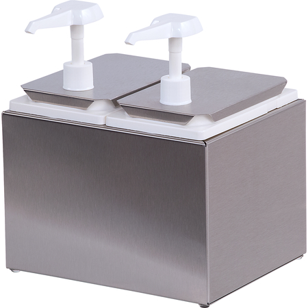 38502 - Condiment Topping Rail with 2 Standard Pumps &  Jars  - Stainless Steel