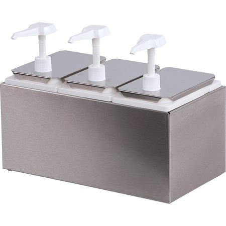 38503 - Condiment Topping Rail with 3 Standard Pumps & Jars  - Stainless Steel