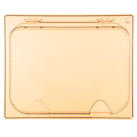 10438Z13 - StorPlus™ EZ Access High Heat Hinged Lid with Handle Universal Half Size - Amber