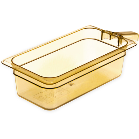"""30861H13 - StorPlus™ Food Pan HH With 1 Handle 4"""" DP 1/3 Size - Amber"""