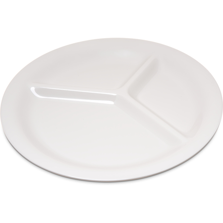 "4300042 - Durus® Melamine Narrow Rim 3-Compartment Plate 10.5"" - Bone"