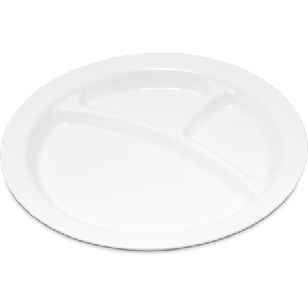 "PCD22002 - Polycarbonate Narrow Rim 3-Compartment Plate 9"" - White"