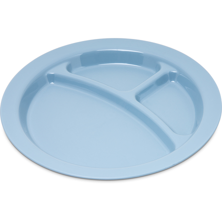 "PCD22059 - Polycarbonate Narrow Rim 3-Compartment Plate 9"" - Slate Blue"