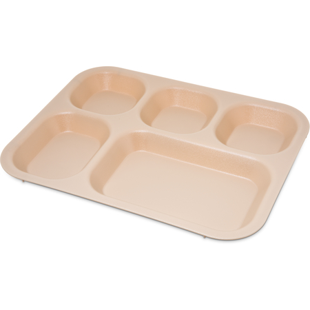 "PCD80125 - Polycarbonate 5-Compartment Tray 13.75"" X 10.62"" - Tan"