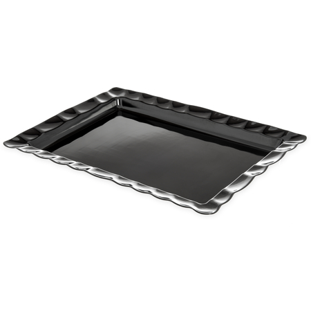 794803 - Displayware™ Rectangular Large Scalloped Tray 24.5 x 18.5 - Black