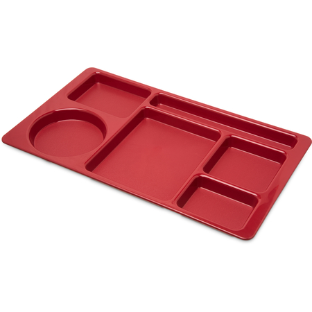 """61505 - Omni-Directional Space Saver 6-Compartment ABS Tray 15"""" x 9"""" - Red"""