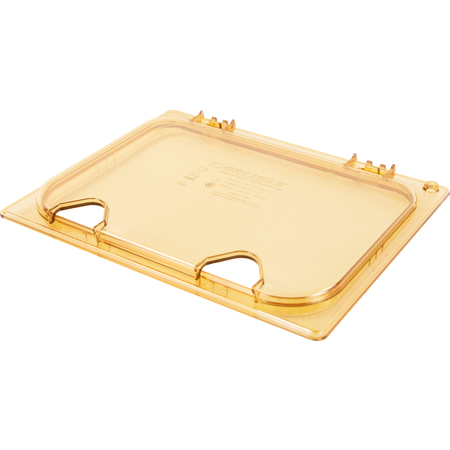 10440Z13 - StorPlus™ EZ Access Hinged High Heat Lid with Handle and Two Notches Universal Half Size - Amber
