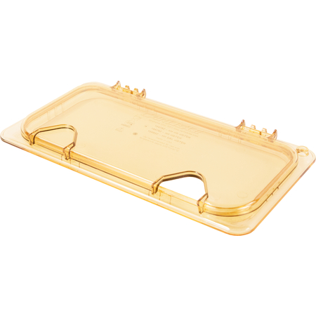 10479Z13 - StorPlus™ High Heat EZ Access Hinged Notched Universal Food Pan Lid 1/3 Size - Amber